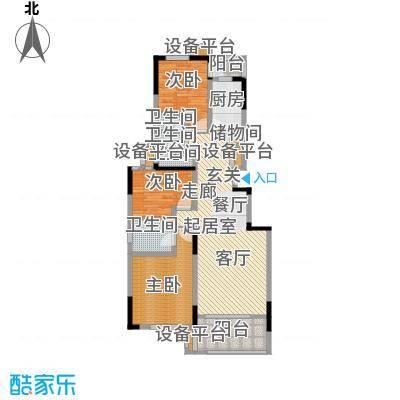 琥珀新天地107.91㎡东区B户型3室2厅2卫户型3室2厅2卫