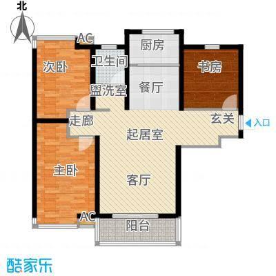 怡和名居户型3室1卫1厨