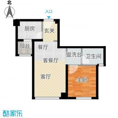 绿地之窗55.00㎡B3户型1室2厅1卫