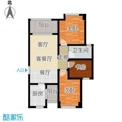 绿地之窗98.00㎡A1户型3室2厅1卫