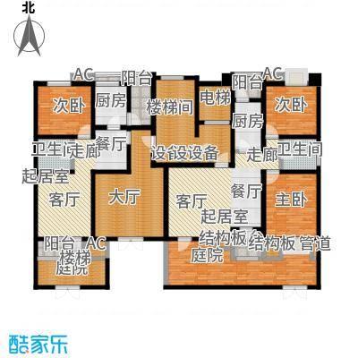 福渔园枫尚河院89.74㎡一层户型2室2厅1卫