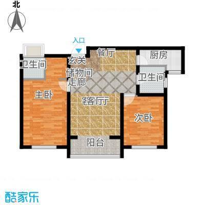荣馨园115.29㎡D2户型两室两厅两卫户型2室2厅2卫