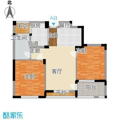 长江国际花园二期89.00㎡A户型2室2厅1卫