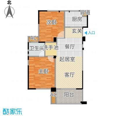 长江国际花园二期87.00㎡B户型2室2厅1卫