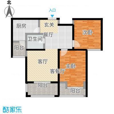 舜奥华府110.00㎡两室两厅一厨一卫户型2室2厅1卫