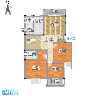 和祥苑114.40㎡2#1型:3房2厅1卫户型