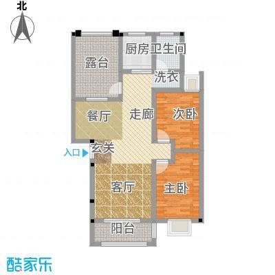 和祥苑87.10㎡1#2-A型:2房2厅1卫户型