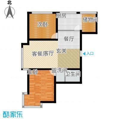 里仁居润城佳园户型2室1厅1卫1厨