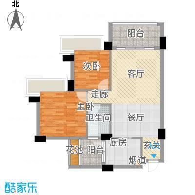 中澳滨河湾82.00㎡1、2栋03、04户型2室2厅1卫