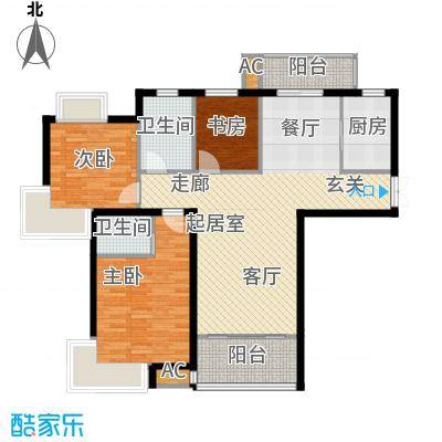 康城上品2324B户型114㎡户型3室2厅2卫-T