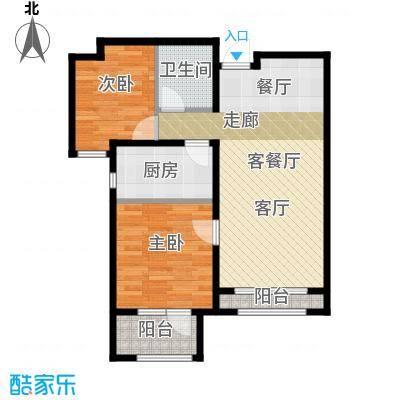 石家庄兰亭89.00㎡C3户型 两室两厅一卫户型2室2厅1卫