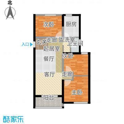 金榜龙城户型3室1卫1厨