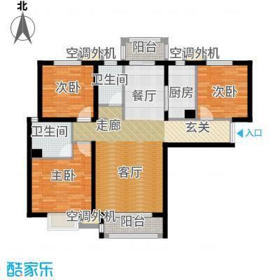 河北国际商会广场115.00㎡三室两厅两卫户型3室2厅2卫