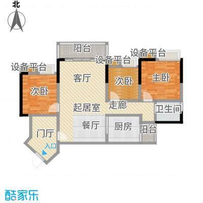 恒泰嘉园派101.00㎡4栋05户型 101平米三房两厅一卫户型