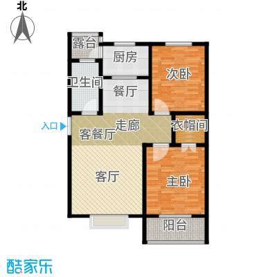 玫瑰湾98.02㎡2号楼c户型2室1厅1卫1厨