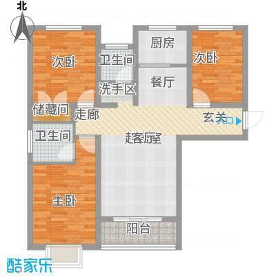 外滩森林110.70㎡2#D户型 三室两厅两卫户型3室2厅2卫