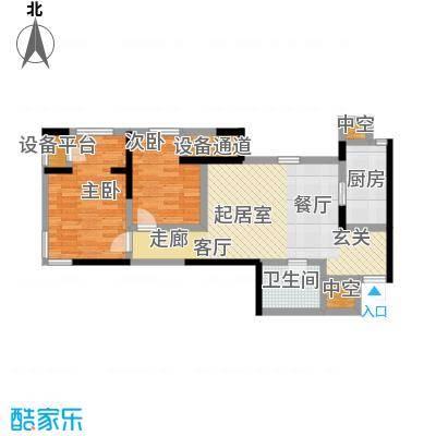 雅宾利花园80.08㎡D1户型 二室二厅一卫户型2室2厅1卫