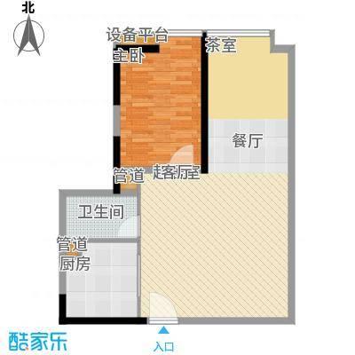 达兴豪苑76.00㎡单身公寓 76平米 一房二厅一卫户型1室2厅1卫