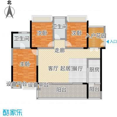 越秀星汇云锦121.00㎡5栋01单元户型3室2厅2卫
