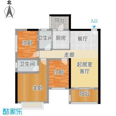 恒大绿洲111.09㎡26栋02户型3室2厅2卫