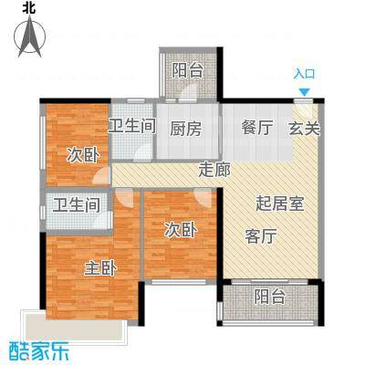 恒大绿洲118.92㎡25栋02户型3室2厅2卫