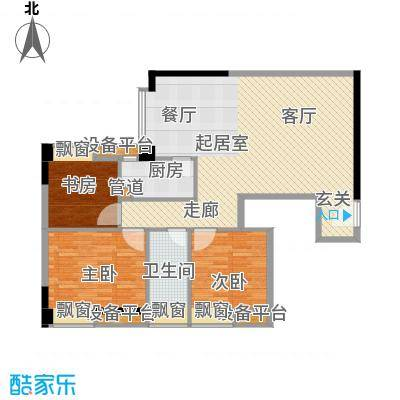 达兴豪苑110.91㎡110.91平米 三房二厅一卫户型3室2厅1卫