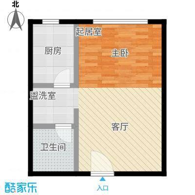 荣盛・盛锦花都48.78㎡公寓01-01户型1室1厅1卫