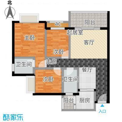 金河湾花园E户型 66.59㎡户型2室2厅1卫
