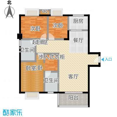 金河湾花园B户型 94.46㎡户型3室2厅2卫