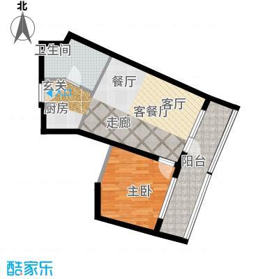 海天翼F户约70.38-70.54平米一室两厅一卫一厨 70.38平米户型1室2厅1卫