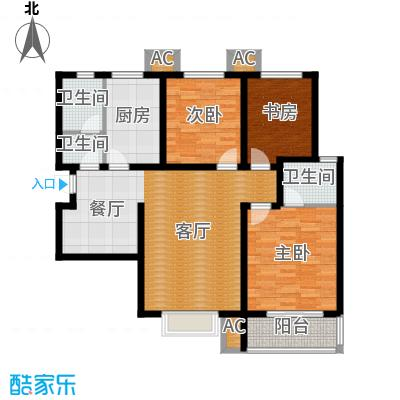 紫金蓝湾115.56㎡d2户型 三室两厅两卫户型
