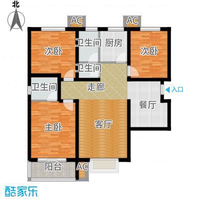 紫金蓝湾119.71㎡d1户型 三室两厅两卫户型