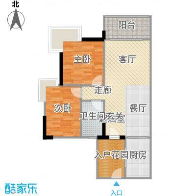 富力现代广场81.40㎡A2栋4二至二十八层-户型2室2厅1卫