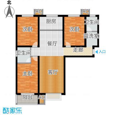 紫金蓝湾136.35㎡a1户型 三室两厅两卫户型
