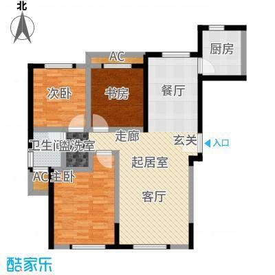 余姚中央公馆T3户型92.5平米户型