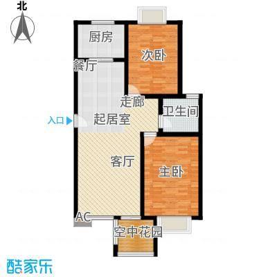 花前树下(三期)94.59㎡房型: 二房; 面积段: 94.59 -95.3 平方米;户型