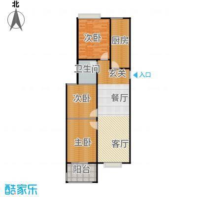 山海嘉园2号楼户型3室1卫1厨