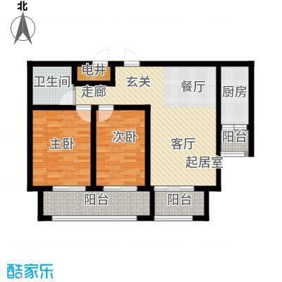 长九中心公园9号87.00㎡17#楼B户型2室2厅1卫