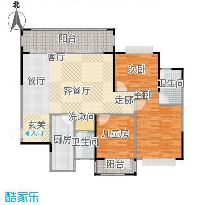 三祺九个半岛119.24㎡三房两厅户型3室2厅2卫