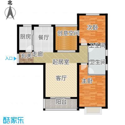 城林一号院108.71㎡F户型2室2厅2卫