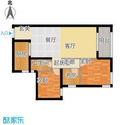 瑞华新都汇B户型 三室二厅一卫 建筑面积85㎡户型