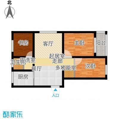 瑞华新都汇M户型 三室二厅一卫 建筑面积108㎡户型