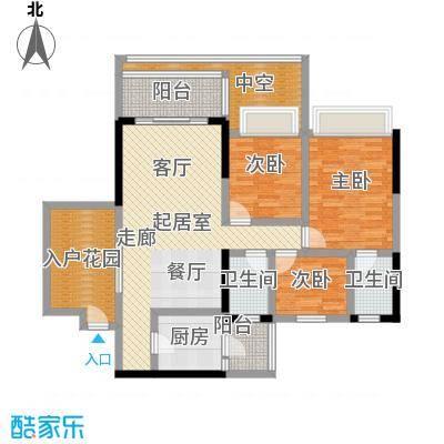 天悦城114.00㎡7栋04单位户型3室2厅2卫