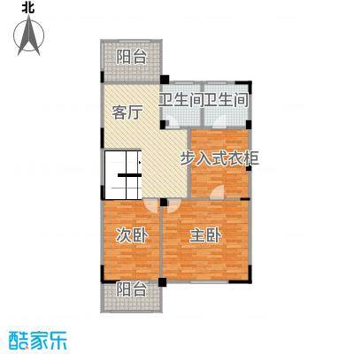 观林一品101.40㎡B第二层平面图户型2室3厅2卫