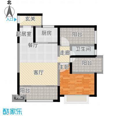 龙光天悦龙庭87.60㎡E2户型1室2厅1卫-T