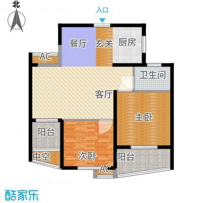 紫金凰庭二房二厅一卫-110平方米户型