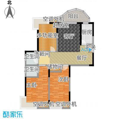 蓝湾星宸花园117.73㎡蓝湾中坚A1三房二厅二卫户型3室2厅2卫