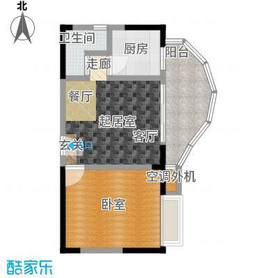蓝湾星宸花园43.70㎡C1户型1室1厅1卫户型1室1厅1卫