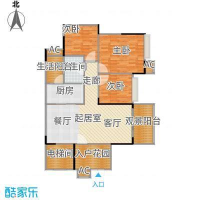 花海湾102.47㎡3栋04单元三房两厅一卫户型3室2厅1卫