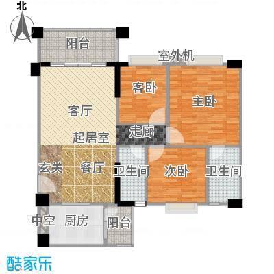 贝迪豪庭106.96㎡1、2栋01单位户型3室2厅2卫